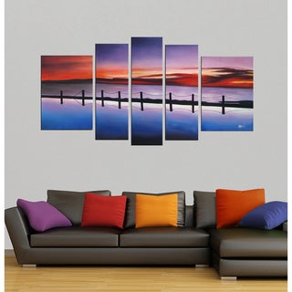 'Pier' Hand-painted Oil 5-piece Canvas Art Set