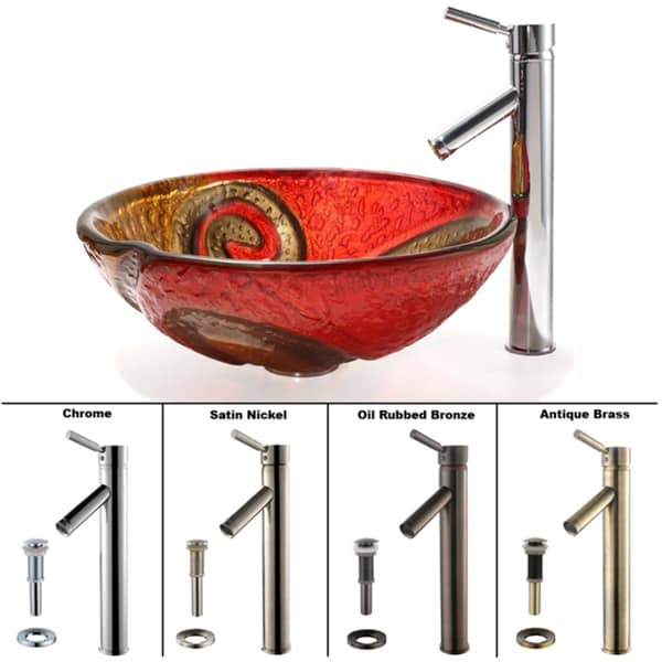 Kraus Bathroom Combo Set Copper Snake Glass Sink and Sheven Faucet
