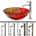 Kraus Bathroom Combo Set Copper Snake Glass Sink and Ramus Faucet