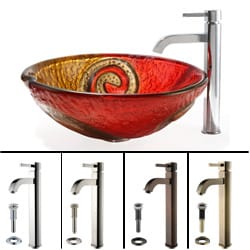 Kraus Copper Snake Glass Sink and Ramus Faucet