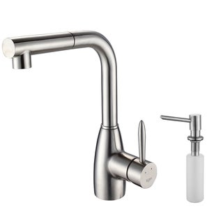 Kraus Kitchen Combo Set Stainless Steel Pull-out Faucet and Dispenser
