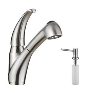 Kraus Kitchen Combo Set Stainless Steel Pull-Out Single Lever Faucet