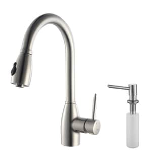 Kraus Stainless-Steel Pull-Out Gooseneck Kitchen Faucet and Soap Dispenser
