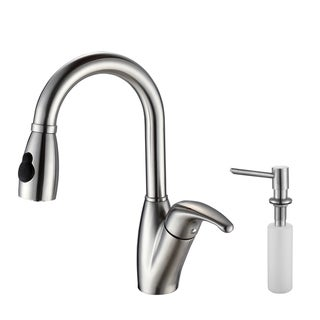 Kraus Stainless-Steel Pull-Out Swivel Head Kitchen Faucet and Soap Dispenser