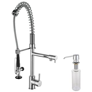 Kraus Commercial Pre-rinse Chrome Kitchen Faucet and Soap Dispenser