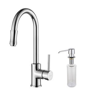 Kraus Chrome Pullout Sprayer Gooseneck Kitchen Faucet and Soap Dispenser