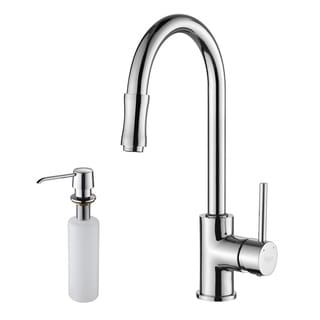 Kraus Chrome Pullout Sprayer Gooseneck Faucet withDispenser
