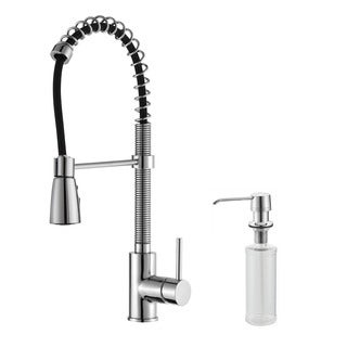 Kraus Chrome Pullout Sprayer Brass Kitchen Faucet and Soap Dispenser
