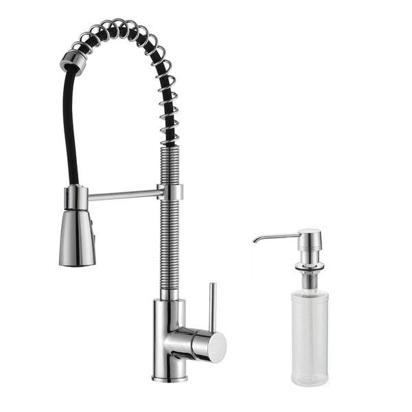 Kraus Chrome Pullout Sprayer Brass Kitchen Faucet and Dispenser