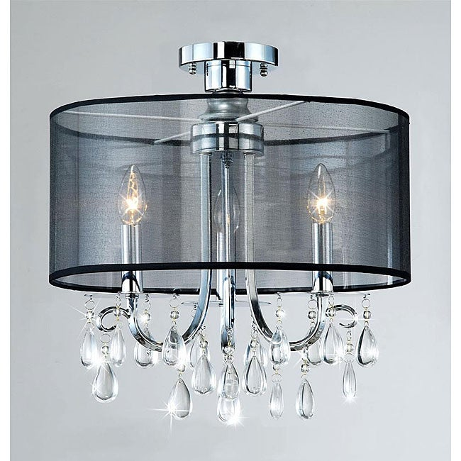 Clear Crystal 3-light Ceiling Fixture