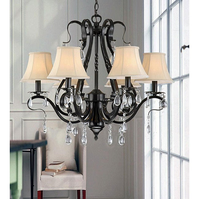 Black Iron Six Light Crystal Chandelier Free Shipping