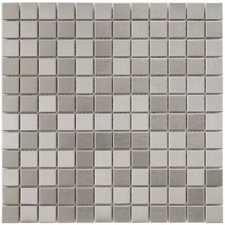 SomerTile 11-7/8x11-7/8-in Chromium Stainless 1-in Steel/Porcelain Mosaic Tile (Pack of 10)