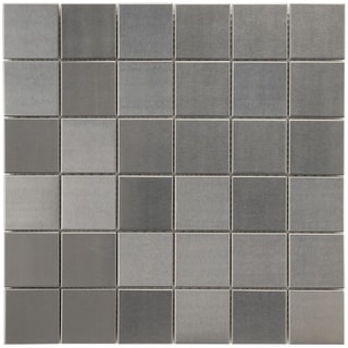 SomerTile 11-7/8x11-7/8-in Chromium Stainless 2-in Steel/Porcelain Mosaic Tile (Pack of 10)