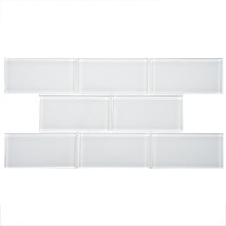 SomerTile 3x6-in Reflections Subway Ice White Glass Tile (Case of 80)