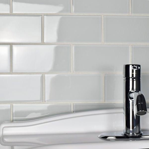 White glass subway tile 3x6