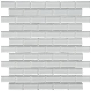 SomerTile 12x12-in Reflections Subway 1x2-in Ice White Glass Mosaic Tile (Pack of 10)