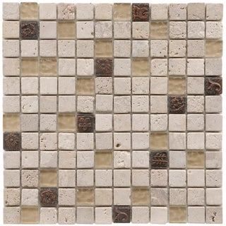 SomerTile 12x12-in Basilica 1-in Gloucester Glass/Stone Mosaic Tile (Pack of 10)