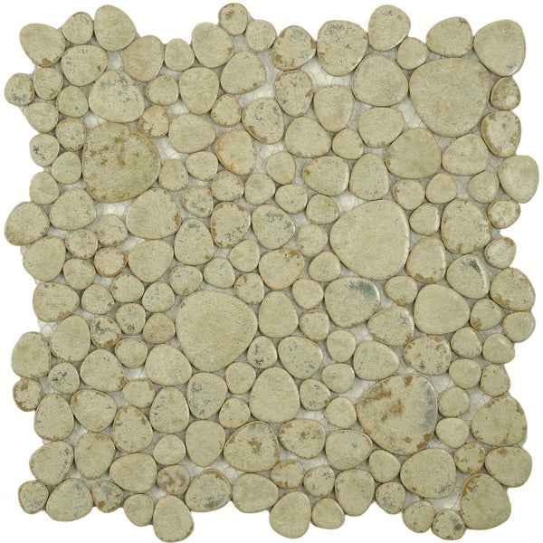 SomerTile 11x11-in Quarry Green Moss Porcelain Mosaic Tile (Pack of 10) 6164588