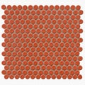 SomerTile 12.25x12-in Penny 3/4-in Vermilio Porcelain Mosaic Tile (Pack of 10)