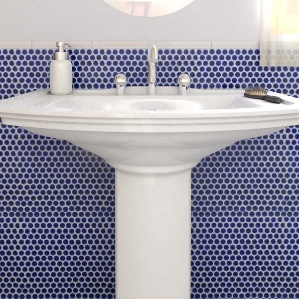 SomerTile 12.25x12-in Penny 3/4-in Cobalt Blue Porcelain Mosaic Tile (Pack of 10)