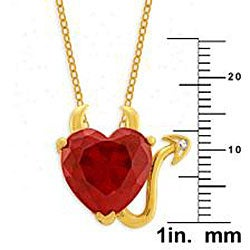 Simon Frank 14k Yellow Gold Overlay Red CZ Devil Heart Necklace