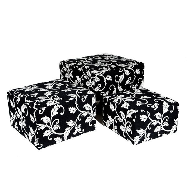 Portfolio Square Charcoal Black and White Vine Nesting Ottomans (Set of 3)