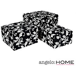 angelo:HOME Square Charcoal Black and White Vine Nesting Ottomans (Set of 3)