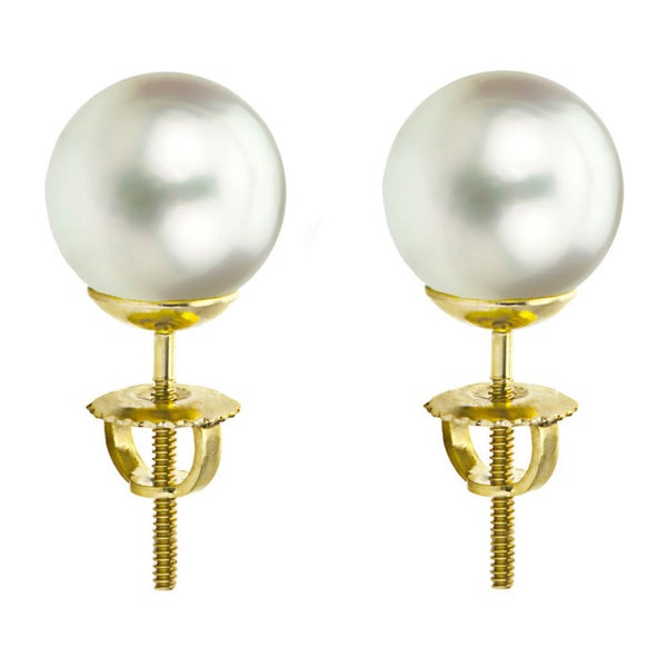 DaVonna 14k Gold White South Sea Cultured Pearl Stud Earrings (9-9.5 mm)