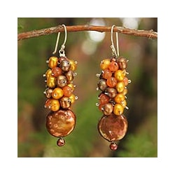 Pearl and Carnelian 'Golden' Cluster Earrings (Thailand)