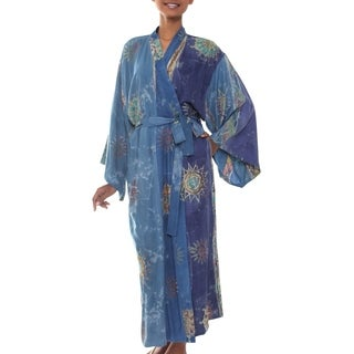 Blue Welcome Handmade Artisan Designer Women's Clothing Fashion Blue Gray Gold Purple Stars Suns Batik Bath Robe (Indonesia)
