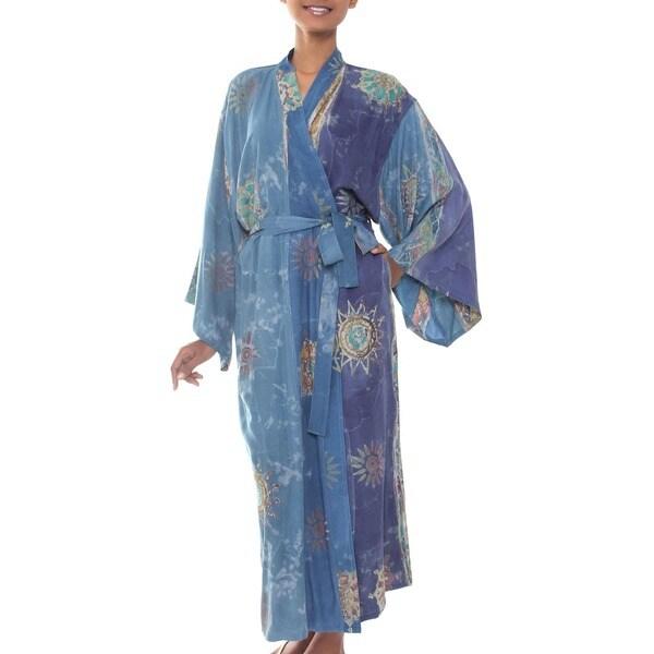 Women's 'Blue Welcome' Batik Robe (Indonesia)