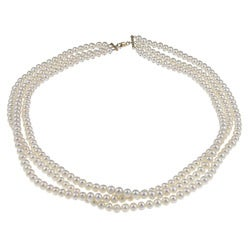 DaVonna 14k Gold White FW Pearl 16-inch Triple-strand Necklace (4.5-5 mm)
