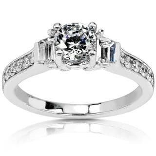 Annello 14k Gold 1 3/8ct TDW Round Diamond Engagement Ring (G-H-I, SI-I1)
