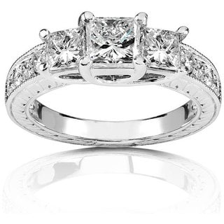 Annello 14k Gold 1 1/3ct TDW Princess 3-stone Diamond Ring (H-I, I1-I2)