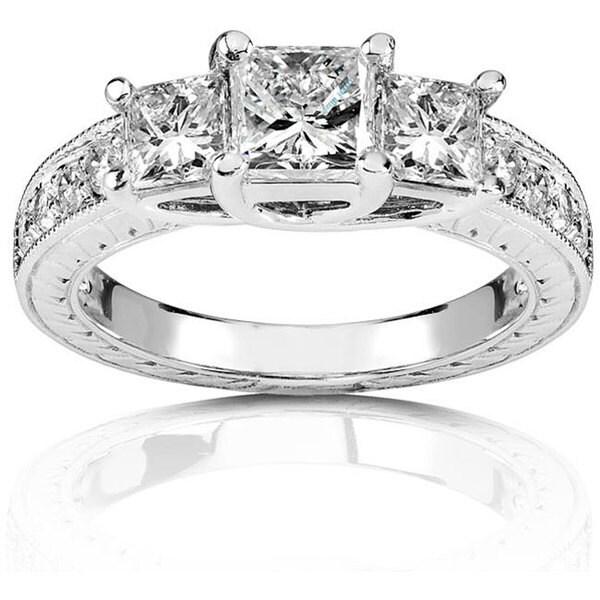 Annello 14k Gold 1 1/3ct TDW Princess 3-stone Diamond Ring (H-I, I1-I2)
