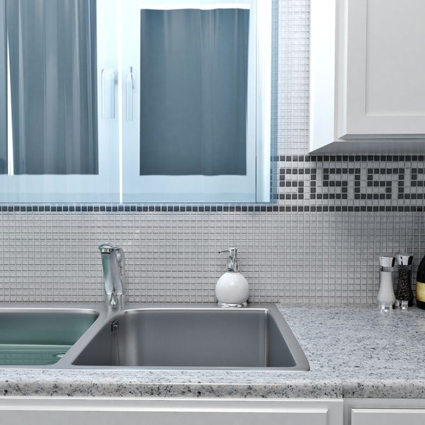 SomerTile 12x12-in Reflections Mini 5/8-in Ice White Glass Mosaic Tile (Pack of 10)