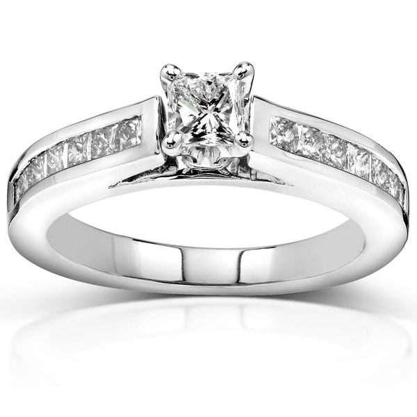 Annello 14k Gold 1ct TDW Princess Diamond Engagement Ring (H-I, I1-I2)