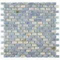 SomerTile 11.75x11.75-in Samoan Subway 0.5x1-in Neptune Blue Porcelain Tile (Pack of 10)