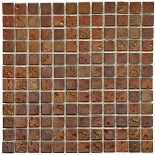 SomerTile 12x12-in Samoan 1-in Antique Copper Porcelain Mosaic Tile (Pack of 10)