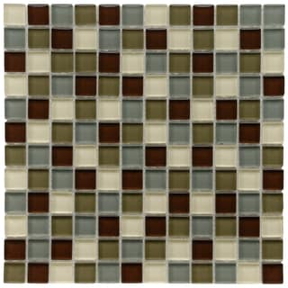 SomerTile 12x12-in Reflections Square 1-in Canopy Glass Mosaic Tile (Pack of 10)