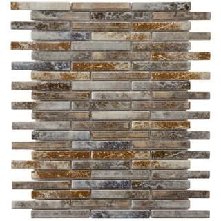 SomerTile 10.75x12.75-in Samoan Brick .5x3.5-in Noce Slate Porcelain Mosaic (Pack of 10)