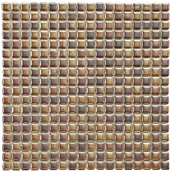 SomerTile 12x12-in Samoan 9/16-in Antique Copper Porcelain Mosaic Tile (Pack of 10)