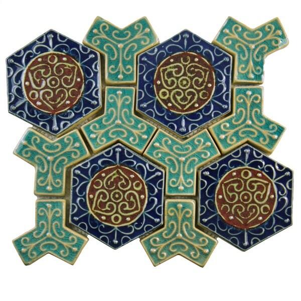 SomerTile 10.8-in12-in Medi Earthen Ceramic Mosaic Tile (Pack of 5)