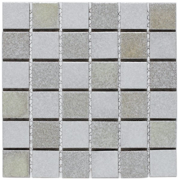 SomerTile 12x12-in Glow Checkerboard 2-in Porcelain Mosaic Tile Sheet