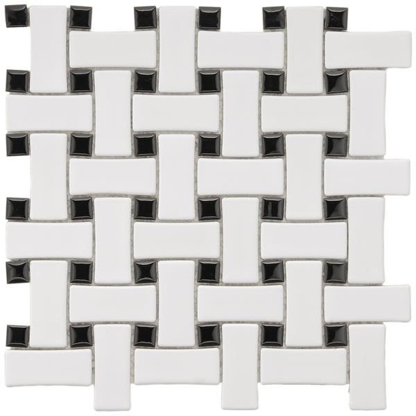SomerTile 9.75x9.75-in Basket Weave 1x2.5-in White/Black Porcelain Mosaic Tile (Pack of 10)