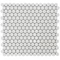 SomerTile 12.25x12-in Penny 3/4-in White Porcelain Mosaic Tile (Pack of 10)