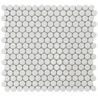 SomerTile 12.25x12-in Penny 3/4-in White Porcelain Mosaic Tile ...
