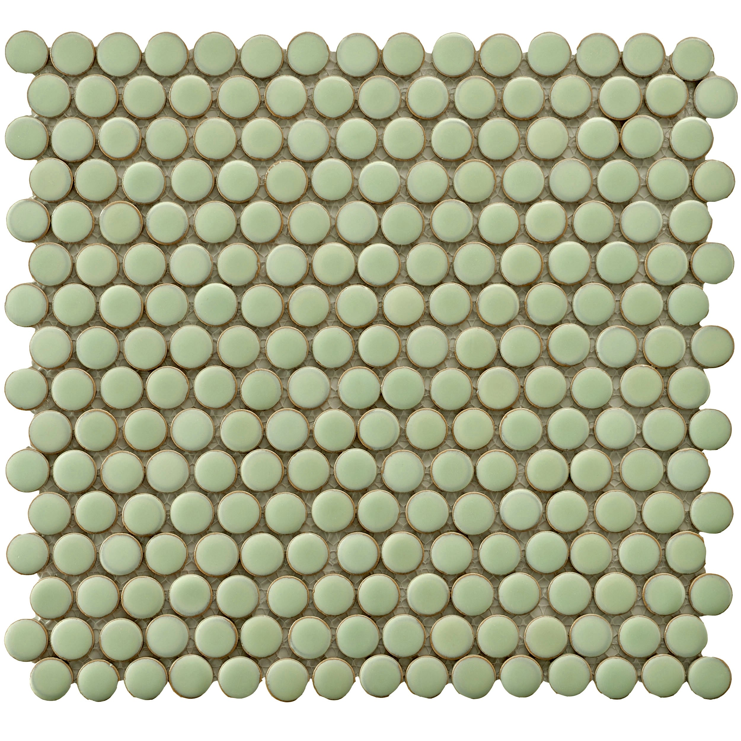Overstock.com SomerTile 12.25x12-in Penny 3/4-in Lite Green Porcelain Mosaic Tile (Pack of 10) at Sears.com