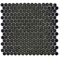 SomerTile 12.25x12-in Penny 3/4-in Black Porcelain Mosaic Tile (Pack of 10)