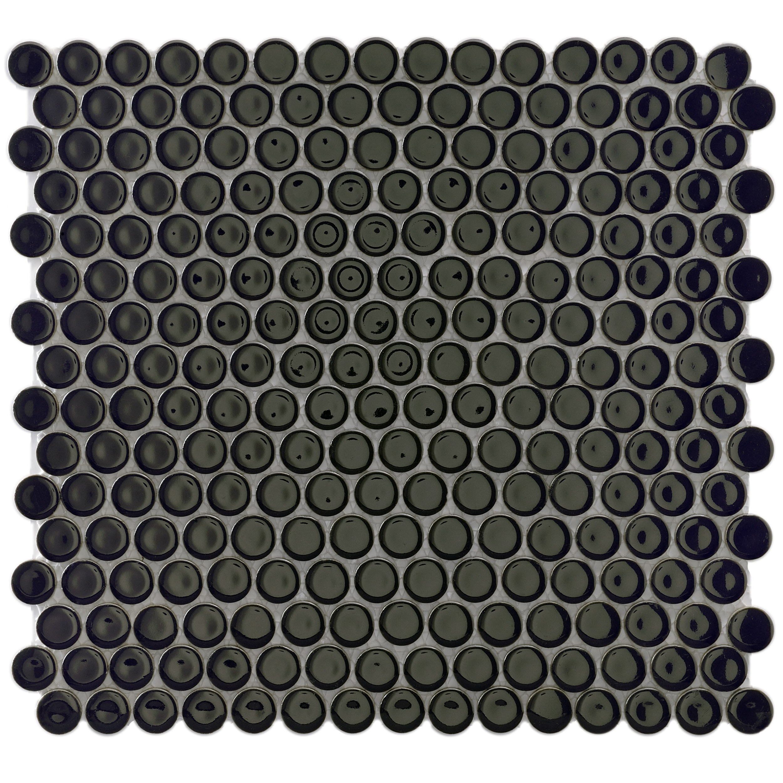Overstock.com SomerTile 12.25x12-in Penny 3/4-in Black Porcelain Mosaic Tile (Pack of 10) at Sears.com
